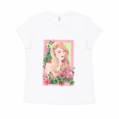 "Белая хлопковая футболка с принтом ""Pretty girl"""
