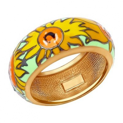 Кольцо из золочёного серебра с эмалью