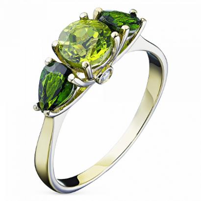 Кольцо из желтого золота с оливином, бриллиантом и хромдиопсидом