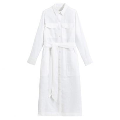 Длинное платье-рубашка из льна с ремешком