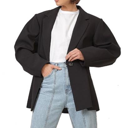 Черный жакет с объемными плечами