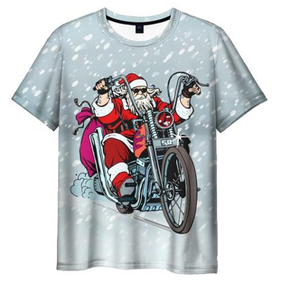 Мужская футболка «Дед Мороз байкер»