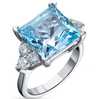 Кольцо из белого золота с топазом и бриллиантом